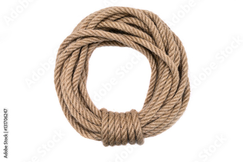 Fotografiet  Rope circle neatly folded. Rope for climbing.