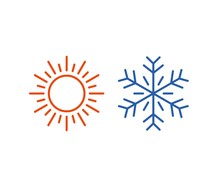 Hot And Cold Icons Isolated On...