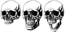 Scary Graphic Human Skull With Black Eyes Set