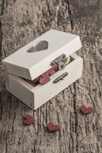 Hearts In A Box On A Wooden Table
