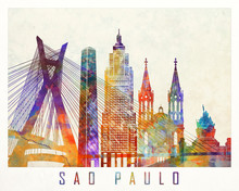 Sao Paulo Landmarks Watercolor...
