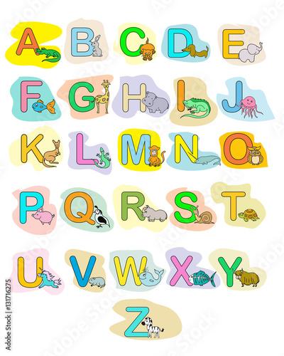 Poster de jardin Route Alphabet baby animals ABC children color poster
