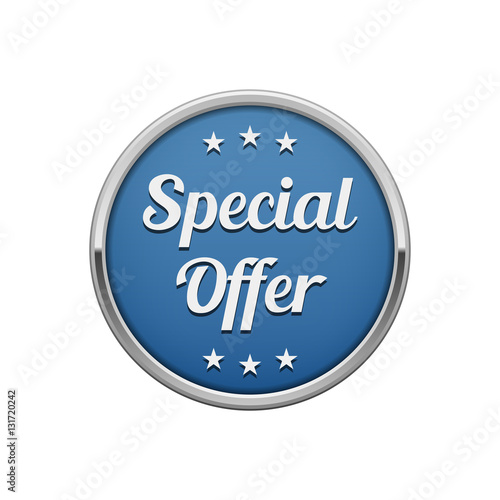 Fotografía  Silver blue special offer round badge