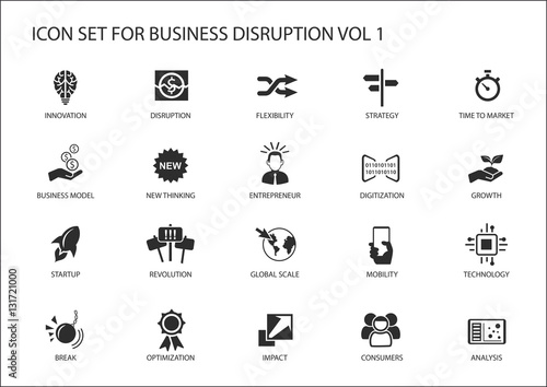 Fotografie, Obraz  Digital business disruption icon set