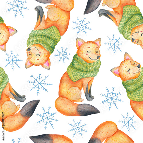 Cotton fabric Watercolor seamless pattern with smiling fox in green scarf. Forest fox watercolor illustration.