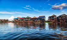 The Floating Village On The Water Komprongpok Of Tonle Sap Lak