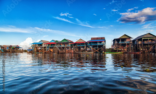 The floating village on the water komprongpok of Tonle Sap lak Canvas Print