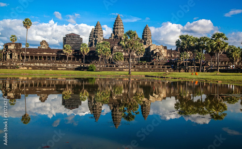фотография  Angkor Wat Temple, Siem reap, Cambodia. Reflection in the lake