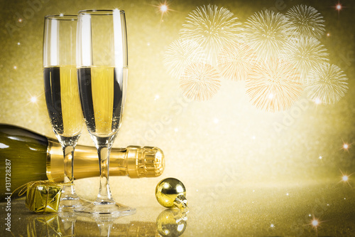 Toast champagne New Year\'s eve Fireworks - Buy this stock photo and ...