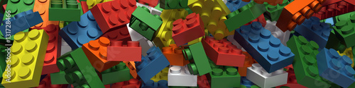 Fotografie, Obraz  Plastic building blocks