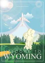 Wyoming Travel Vector Illustration. USA Poster. United States Of America Colorful Banner. Greetings From Wyoming