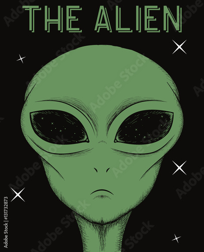 Photo  Face of green alien isolated on black background