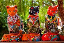 Mexican Colorful Souvenir Ceramic Cats Cactus Pots San Diego Cal
