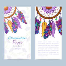 Flyer With Hand Drawn Dreamcatcher And Feathers
