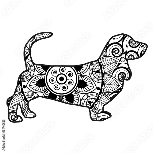 Vector Illustration Of A Dog Mandala For Coloring Book Cane