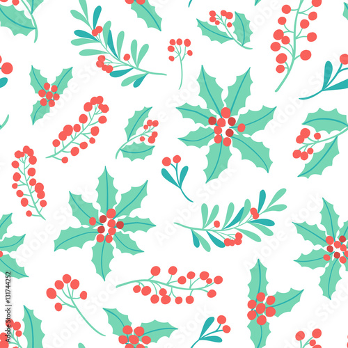 Cotton fabric Winter Holiday seamless pattern with mistletoe branch, poinsettia, berry. Vector Christmas background.