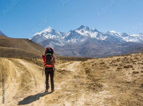 Lonely trekker on a crossroad of two roads towards mountains. Poster