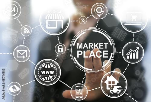 Fotografía  Market place store navigation shopping web computer online business concept