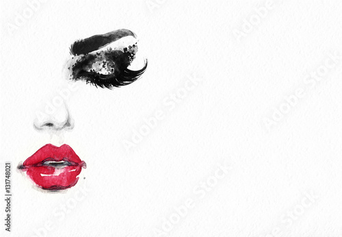 Beautiful woman face. Fashion watercolor illustration. Beauty background