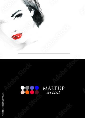 Poster Portrait Aquarelle Beautiful woman face. Fashion watercolor illustration. Beauty background