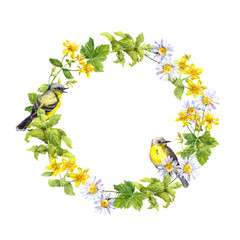 Panel Szklany Do herbaciarni Wreath border - spring flowers, wild herbs, grass. Watercolor circle frame