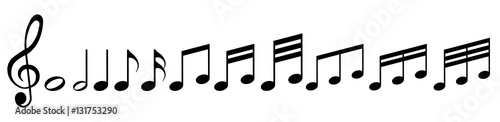 Fotografiet Musiknoten mit Notenschlüssel