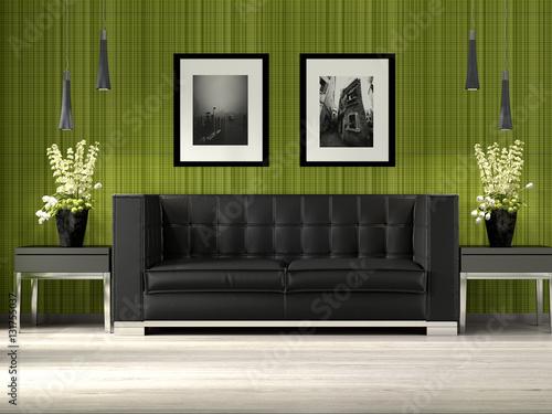 modernes Wohnzimmer mit grüner Tapete und Ledersofa – kaufen ...