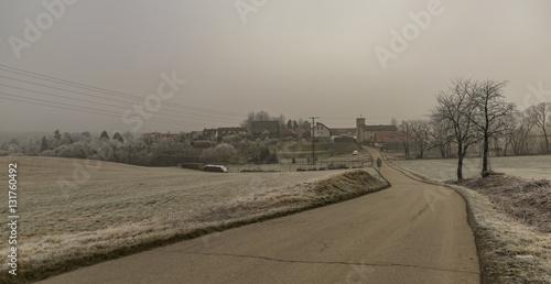 Fototapeta Frost morning near Krasetin village obraz na płótnie