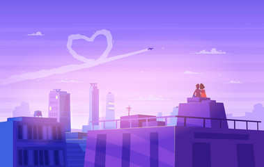 Naklejka Boy and girl look over cityscape. Romantic day. Vector cute illustration.