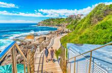 BONDI BEACH, AUSTRALIA - OCTOBER 2015: People Relax On The Beach