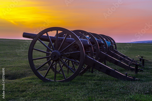 Fotografie, Tablou  Four pieces of artillery in a row at Antietam National Battlefie