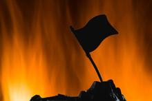 Silhouette Of Soilders In War Wiht Blazing Frame Of Fire