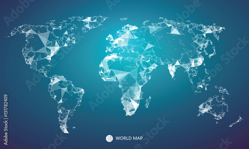 Point, line, surface composition of the world map, the implication of network connection.
