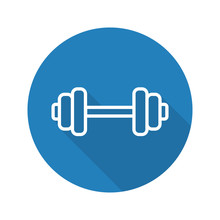 Gym Dumbbell Flat Linear Long Shadow Icon
