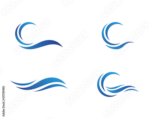 Water Wave symbol and icon Logo Template vector Wall mural