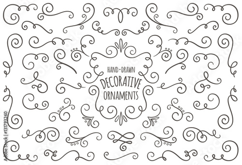 Obraz Collection of cute hand drawn vintage swirl ornaments. - fototapety do salonu