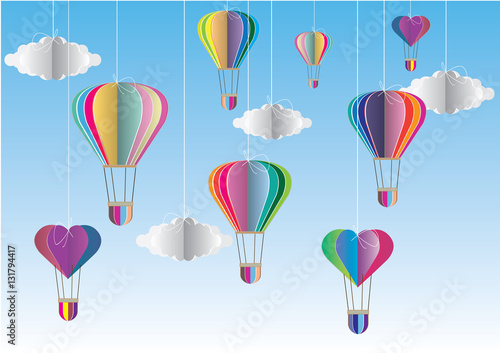 Origami Made Colorful Hot Air Balloon And Cloudper Art Style