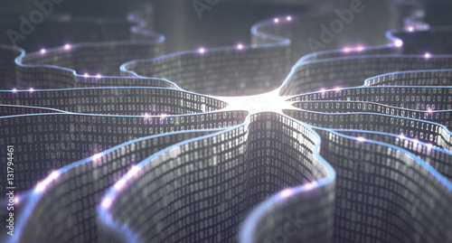 Obraz Artificial neuron in concept of artificial intelligence. Wall-shaped binary codes make transmission lines of pulses, information in an analogy to a microchip. - fototapety do salonu