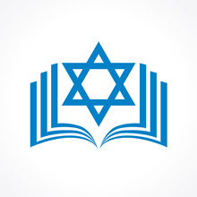 Online Torah Or Tanakh Vector Logo. Open Book With David Star Clipart Icon. Computer Software Or Phone Application Educational Studying Sign. Network User Jewish Avatar.
