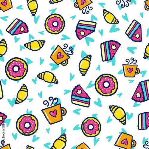 Poster Cartoon draw Doodles cute seamless pattern