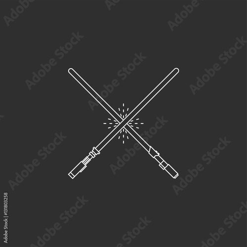 White swords on black background. Canvas Print