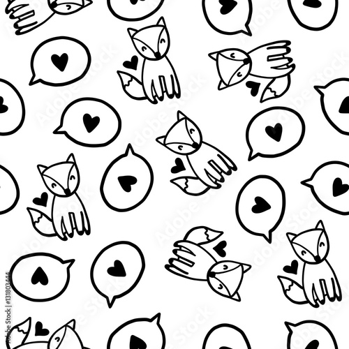 Cotton fabric Doodles cute seamless pattern