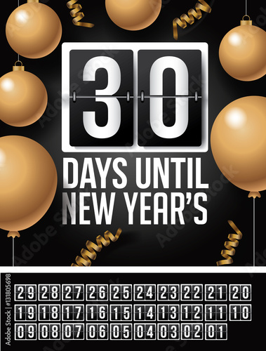 Poster  Countdown to Happy New Year design with gold ornaments, balloons and streamers and flip numbers