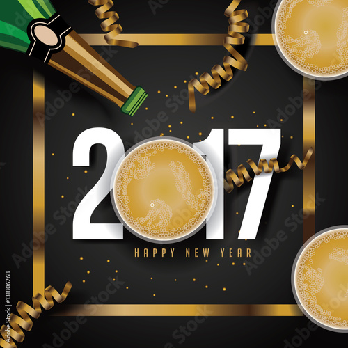 Poster  Golden Happy New Yea design with gold ornaments, balloons and streamers and layered type