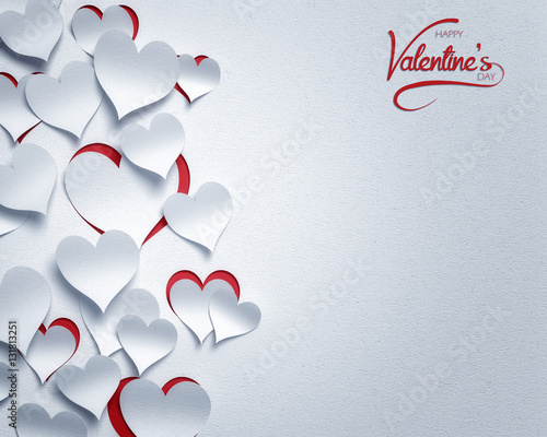paper hearts valentine's day  - 3D romantic card / background ( love , valentine ) © Wojciech Rochowicz