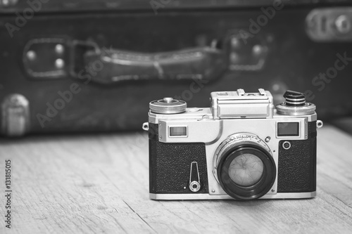 Vintage no brand photographic equipment, selective focus, black and white Wallpaper Mural