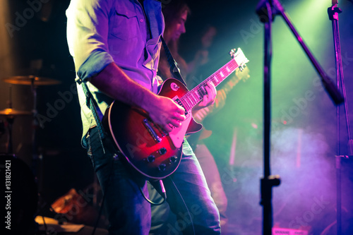 guitarist playing electrical guitar on a rock concert Tablou Canvas