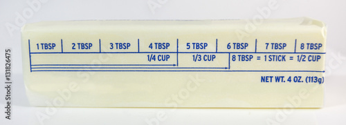 Fotografia, Obraz Stick of butter with tablespoon markings. Horizontal.