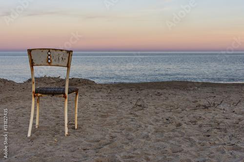 Fotografia, Obraz  In spiaggia d'inverno al calar del sole.