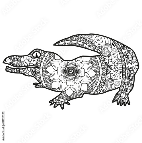 Vector Illustration Of A Crocodile Mandala For Coloring Book Coccodrillo Bianco E Nero Vettoriale Da